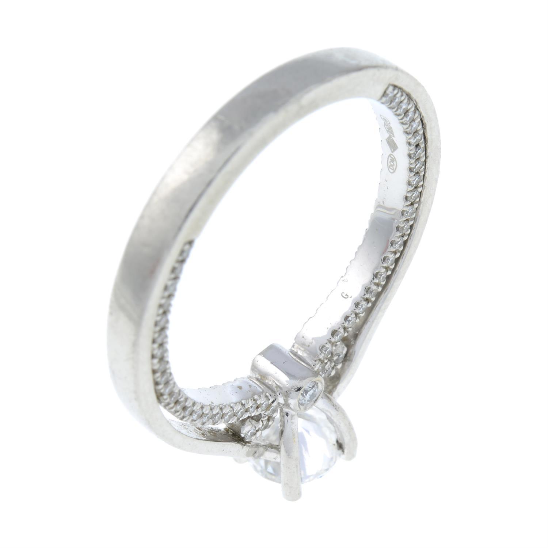 A platinum brilliant-cut diamond single-stone ring, with brilliant-cut diamond gallery. - Image 6 of 8