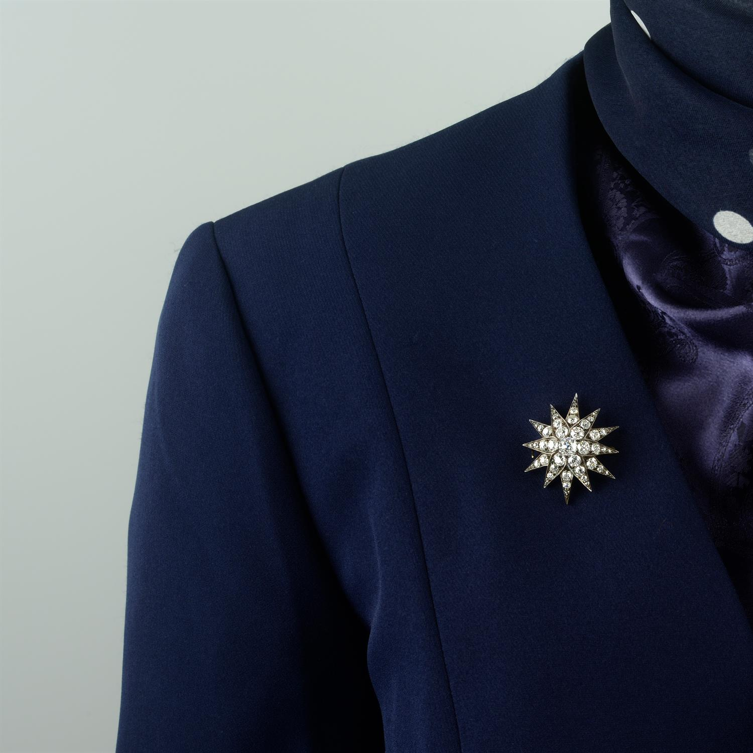 A late Victorian silver and gold, old-cut diamond star brooch. - Image 5 of 5