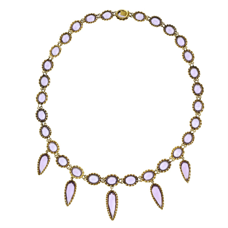 A 19th century gold purple paste fringe necklace. - Image 5 of 6