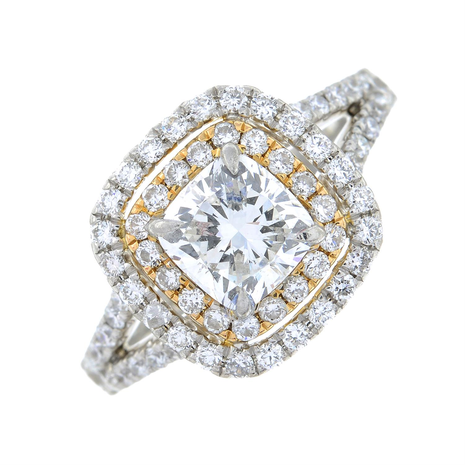 A platinum cushion-shape diamond ring, with brilliant-cut diamond surrounds and shoulders. - Image 2 of 7