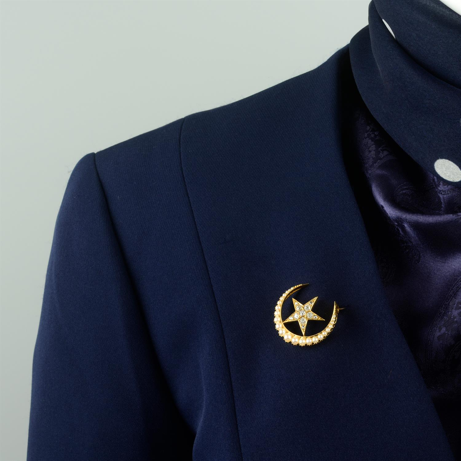 A late Victorian 15ct gold split pearl and old-cut diamond crescent moon and star brooch. - Image 5 of 5