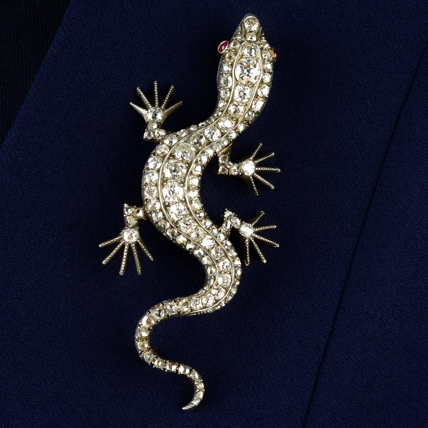 A Victorian silver and gold, old and rose-cut diamond salamander or lizard brooch.