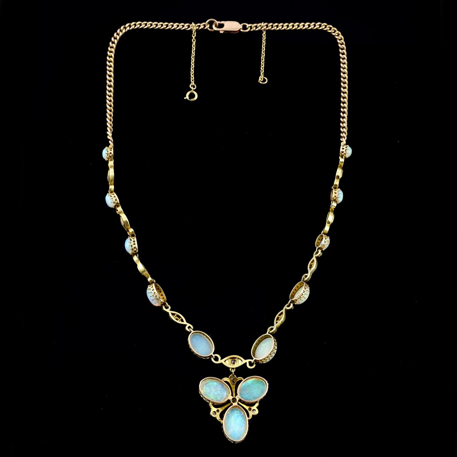 An early 20th century gold opal and diamond necklace, with later back chain. - Image 4 of 5