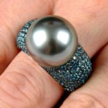 A colour-treated blue diamond and 'Tahitian' cultured pearl 'Classic Collection' ring, by Schoeffel.