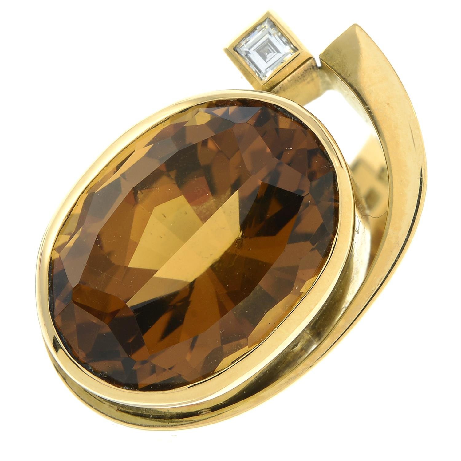 An 18ct gold citrine and square-shape diamond dress ring, by Erwin Springbrunn. - Image 2 of 6