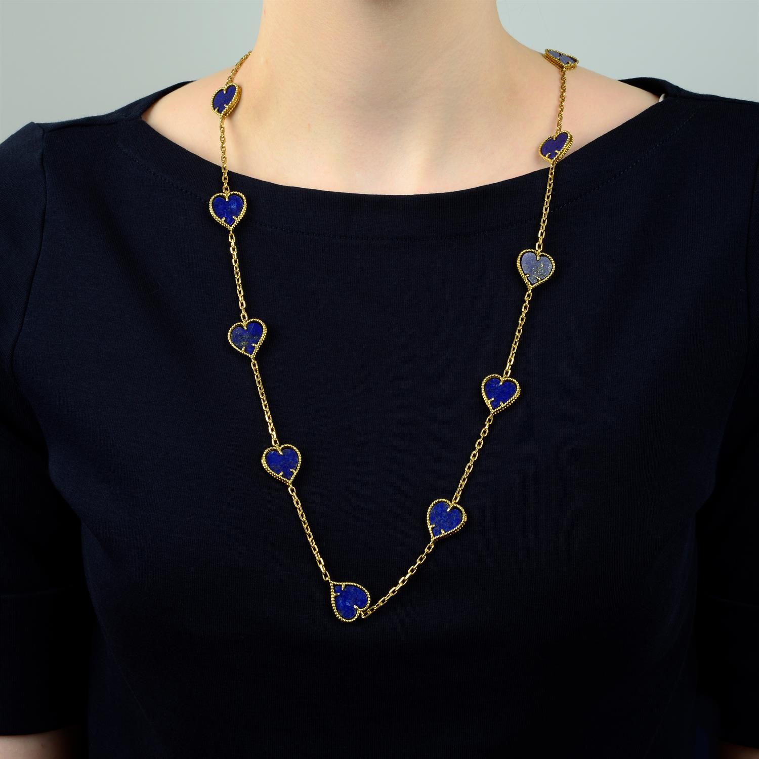 A mid 20th century 18ct gold lapis lazuli heart necklace. - Image 6 of 6