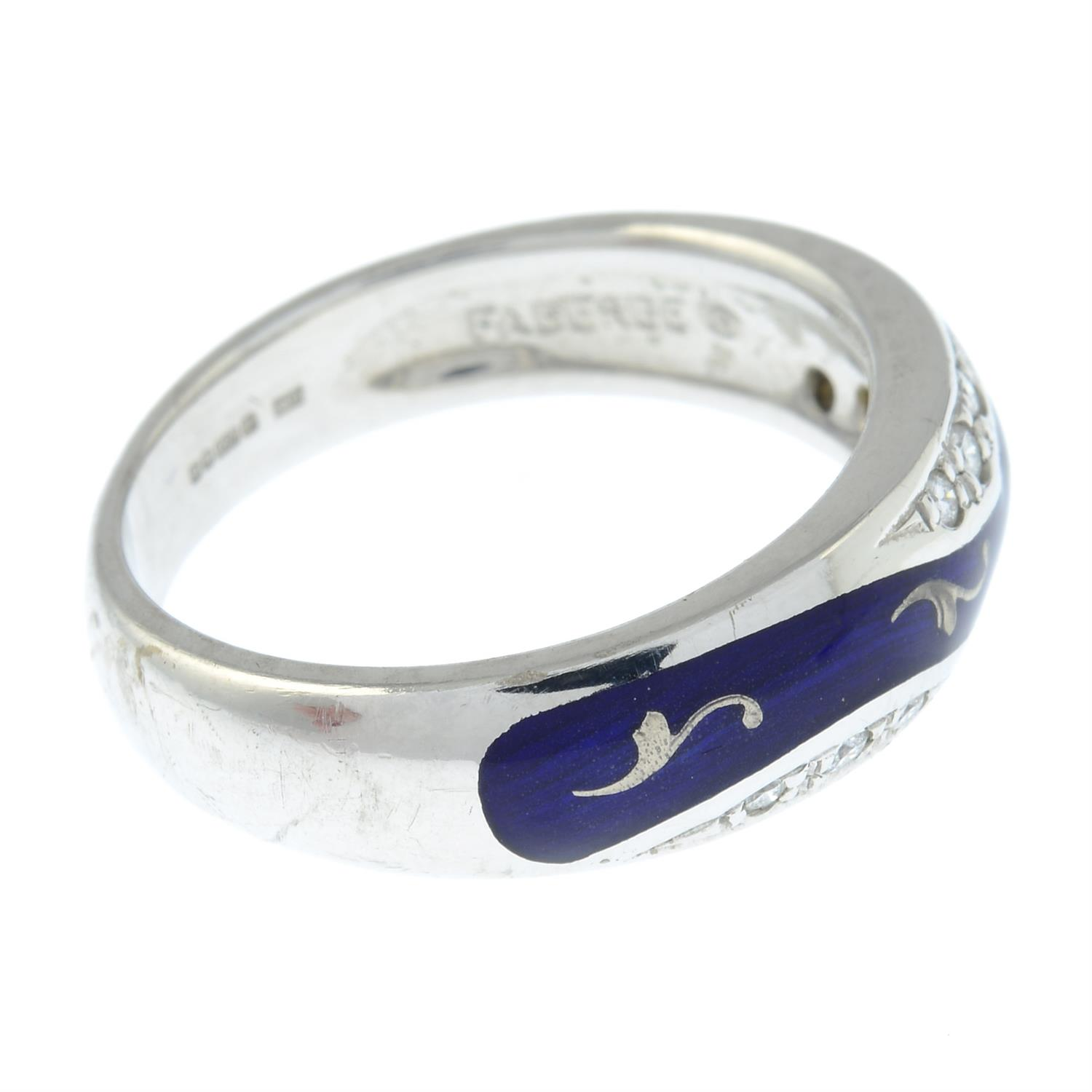 A limited edition 18ct gold diamond and blue enamel ring, by Fabergé. - Image 4 of 6