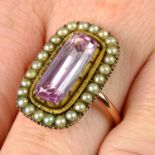 A late Georgian gold foil back pink topaz and split pearl cluster ring.