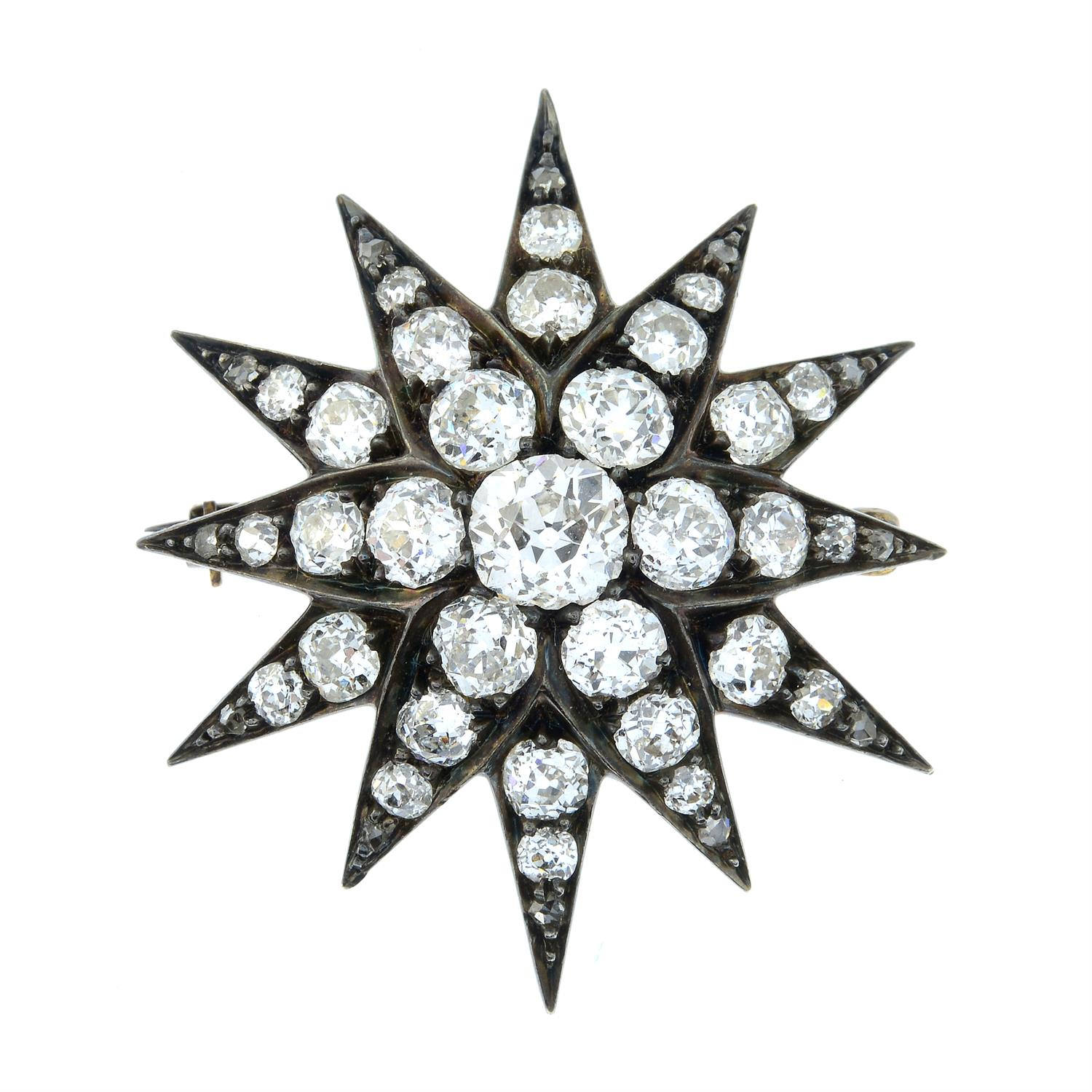 A late Victorian silver and gold, old-cut diamond star brooch. - Image 2 of 5