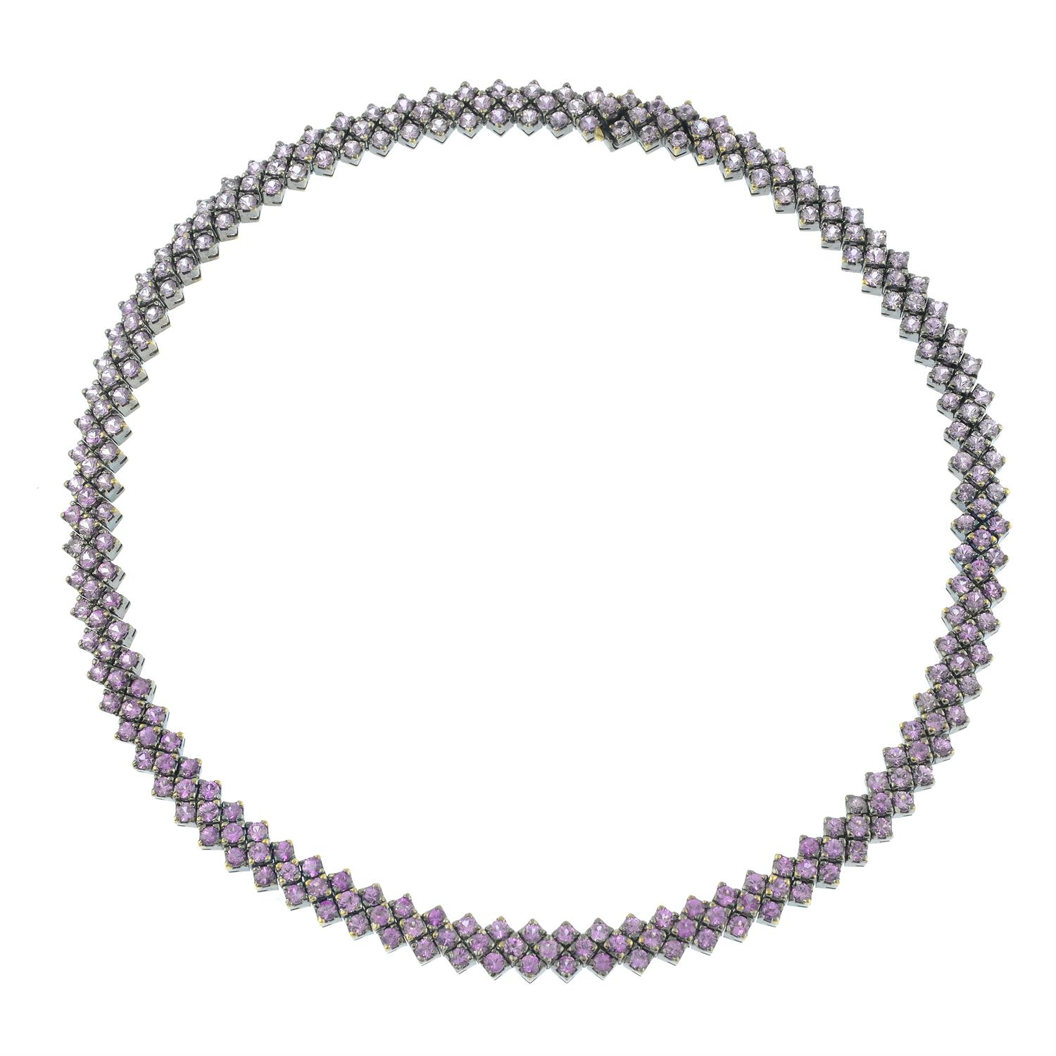 A pink sapphire necklace and bracelet set, with similarly-designed pink sapphire and diamond floral - Image 7 of 8