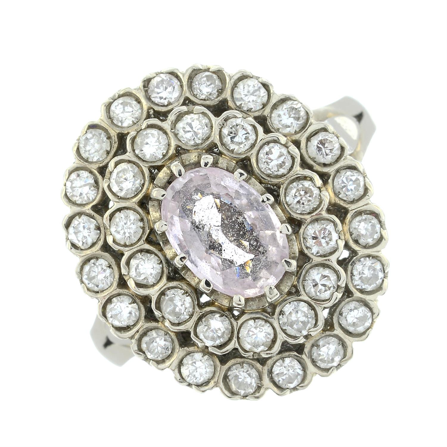 A pink sapphire and brilliant-cut diamond stepped cluster ring. - Image 2 of 6