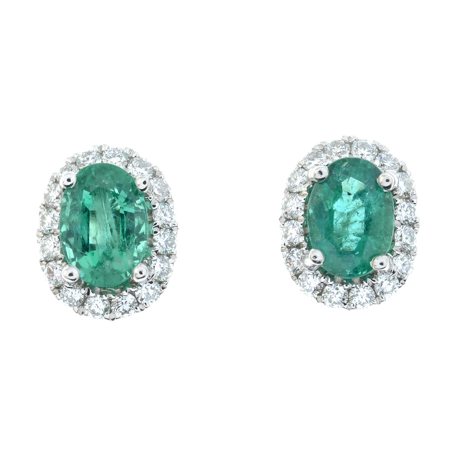 A pair of emerald and diamond cluster earrings. - Image 2 of 4