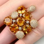 A citrine and diamond cocktail ring, by Gavello.
