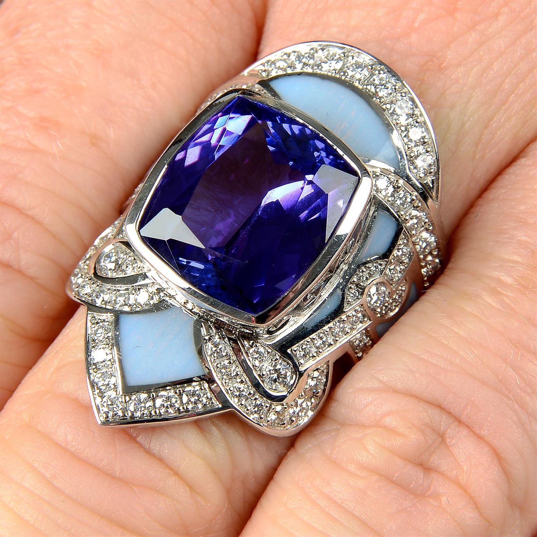 A tanzanite, brilliant-cut diamond and enamel ring.