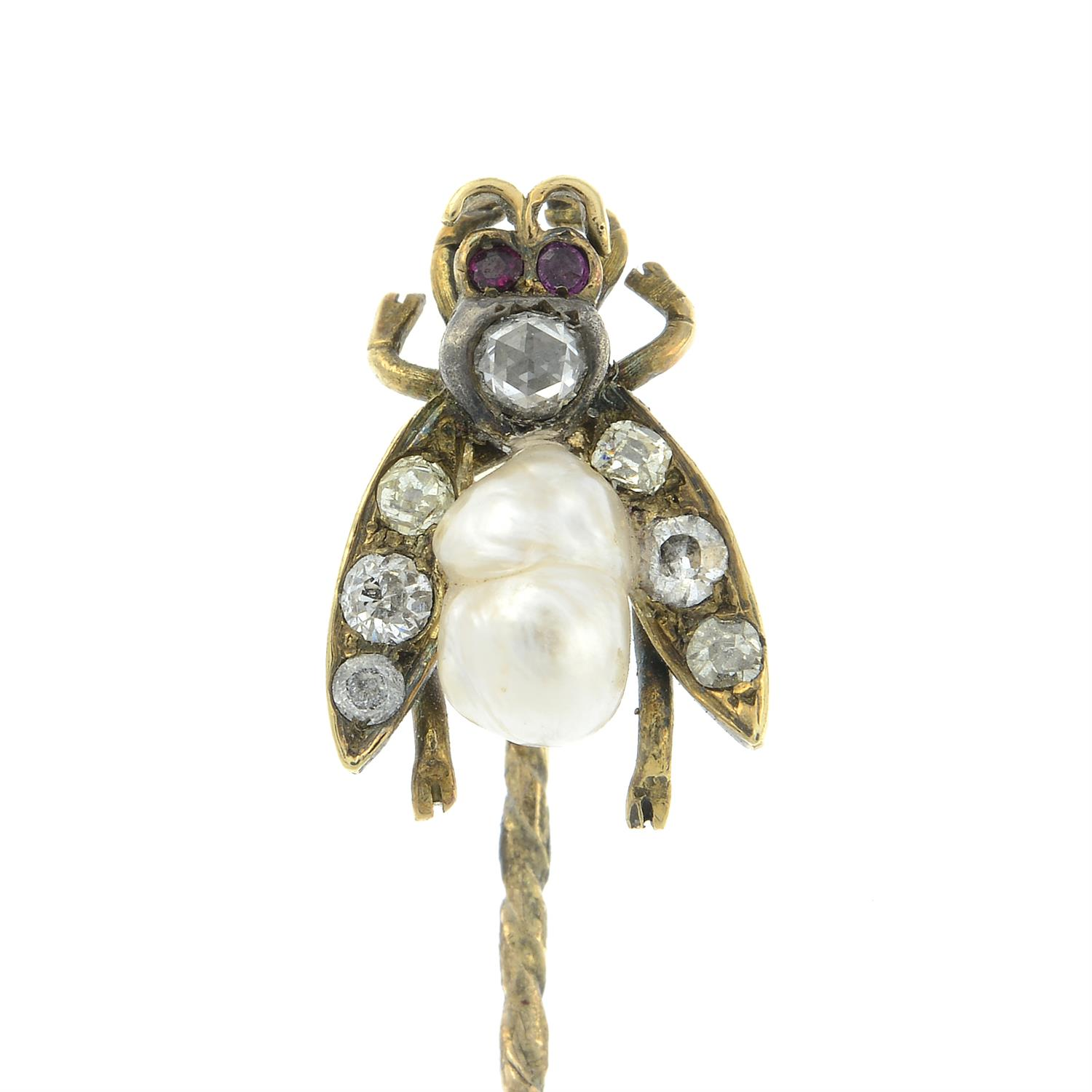 A late Victorian silver and gold, diamond, baroque pearl and ruby fly stickpin. - Image 2 of 5