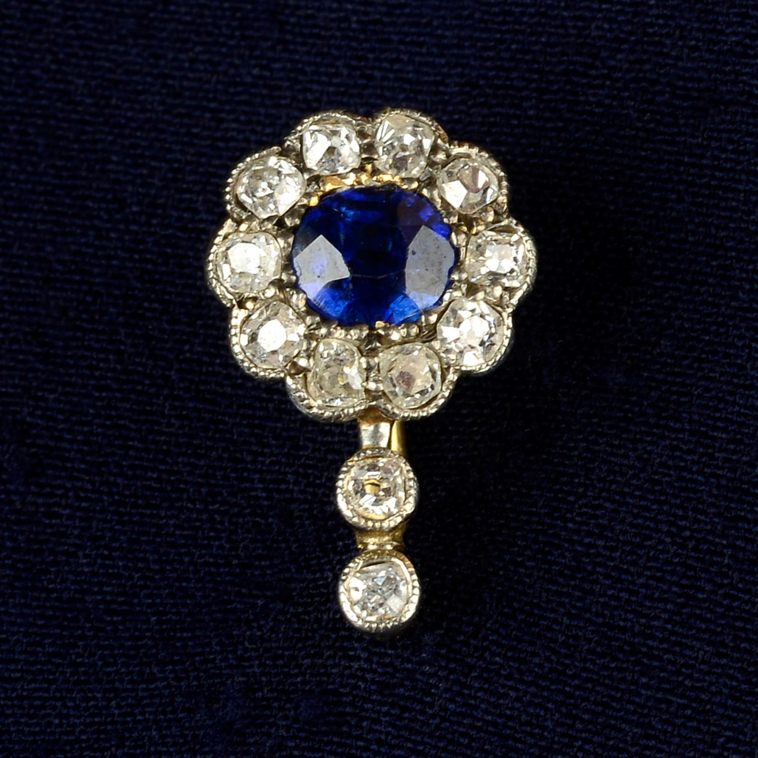 An early 20th century 12ct gold and platinum, sapphire and old-cut diamond cluster stickpin.