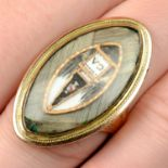 A late Georgian 12ct gold, split pearl, enamel, sepia and hairwork mourning ring.