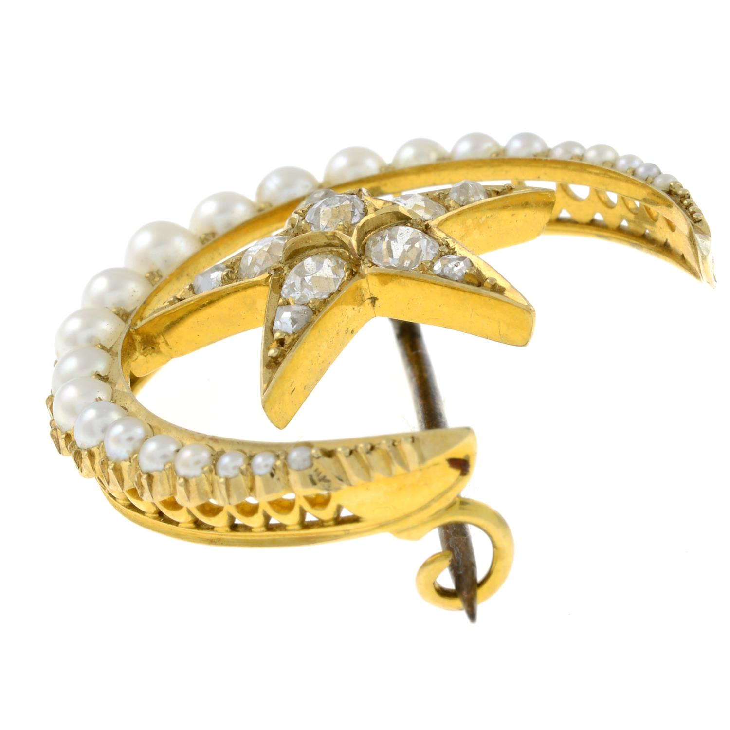 A late Victorian 15ct gold split pearl and old-cut diamond crescent moon and star brooch. - Image 4 of 5