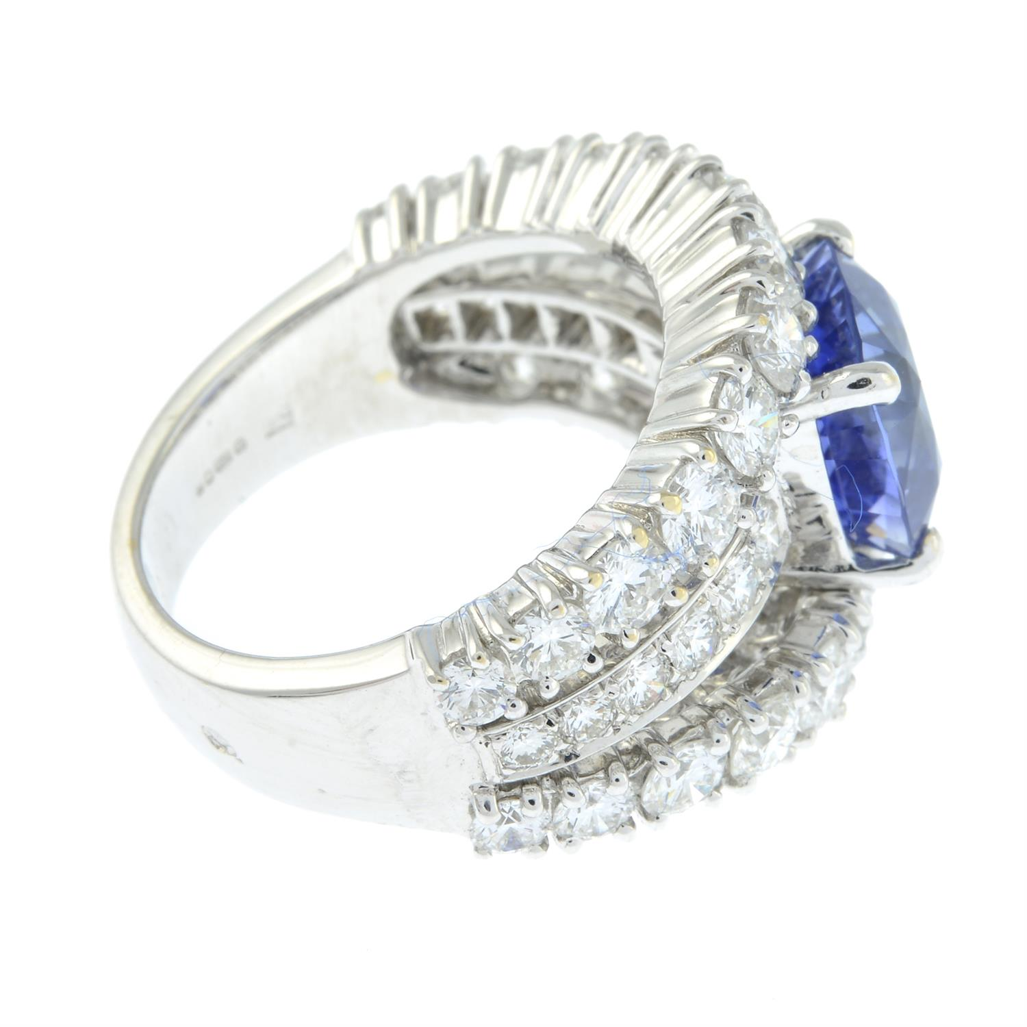 An 18ct gold no-heat sapphire and brilliant-cut diamond dress ring, by Ritz Fine Jewellery. - Image 4 of 8