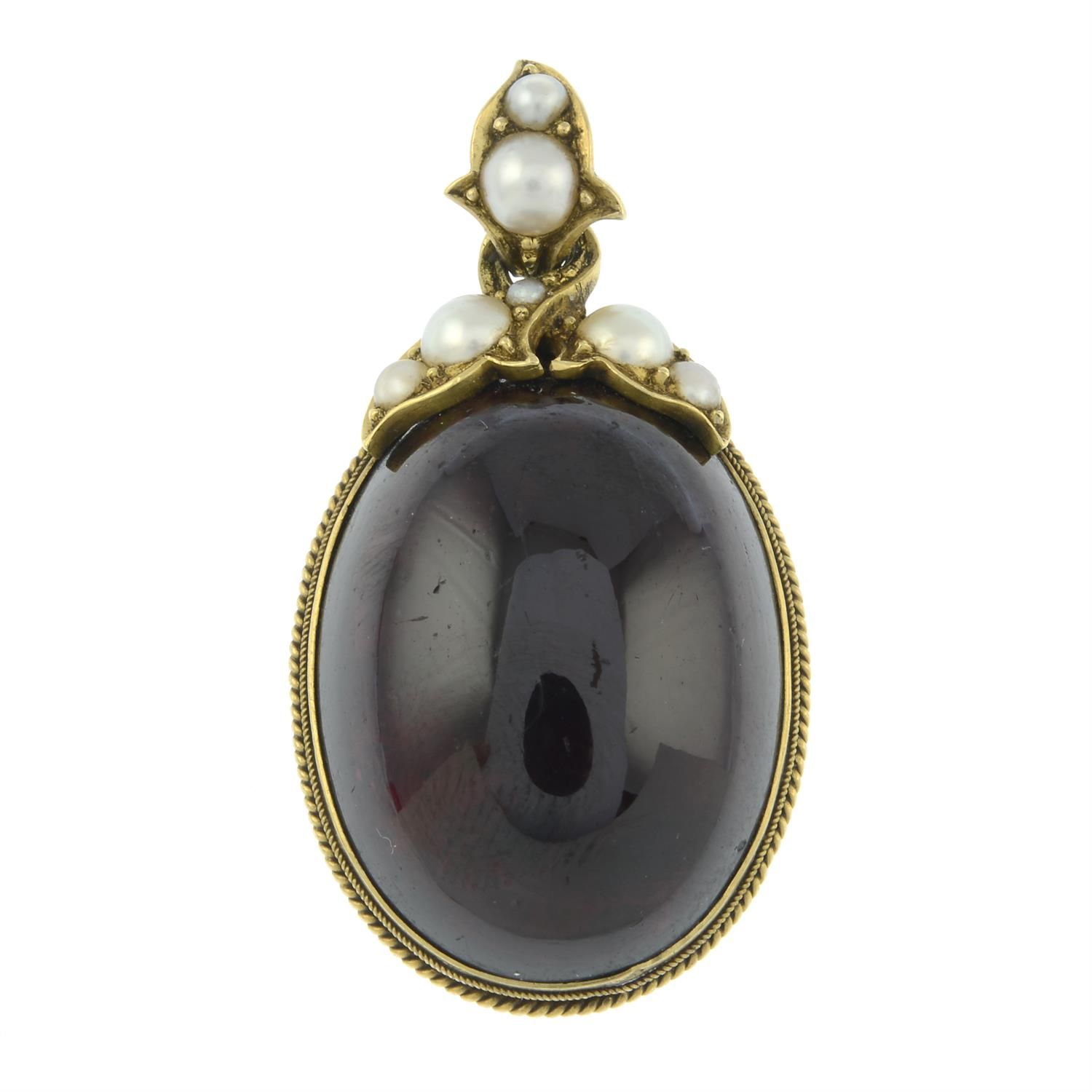 A late Victorian gold foil back garnet and split pearl pendant, with locket reverse. - Image 2 of 4