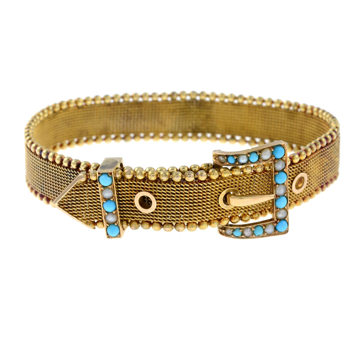 A late Victorian 15ct gold split pearl and turquoise buckle bracelet. - Image 3 of 6