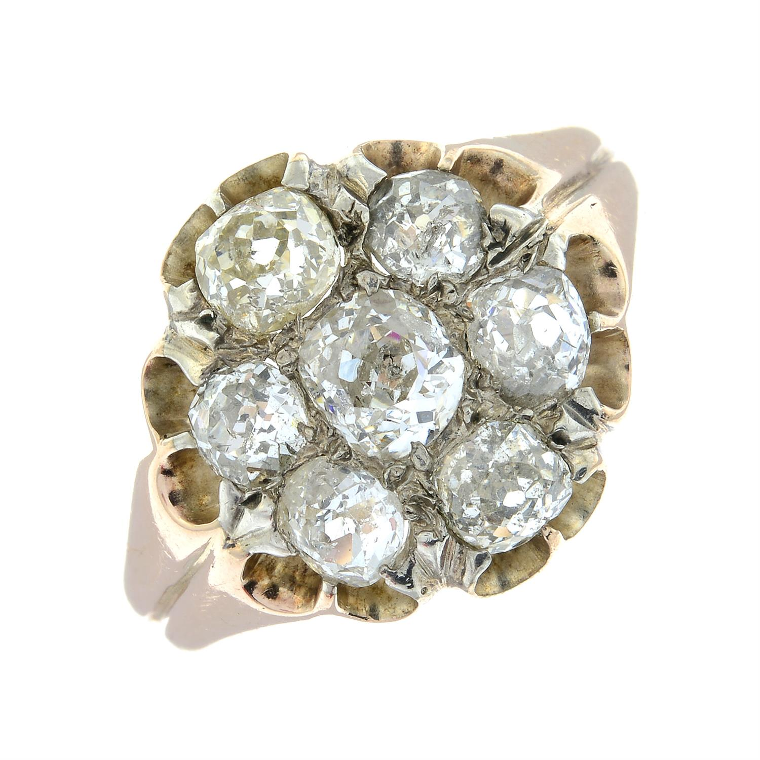 An early 20th century 9ct gold old-cut diamond cluster ring. - Image 2 of 6