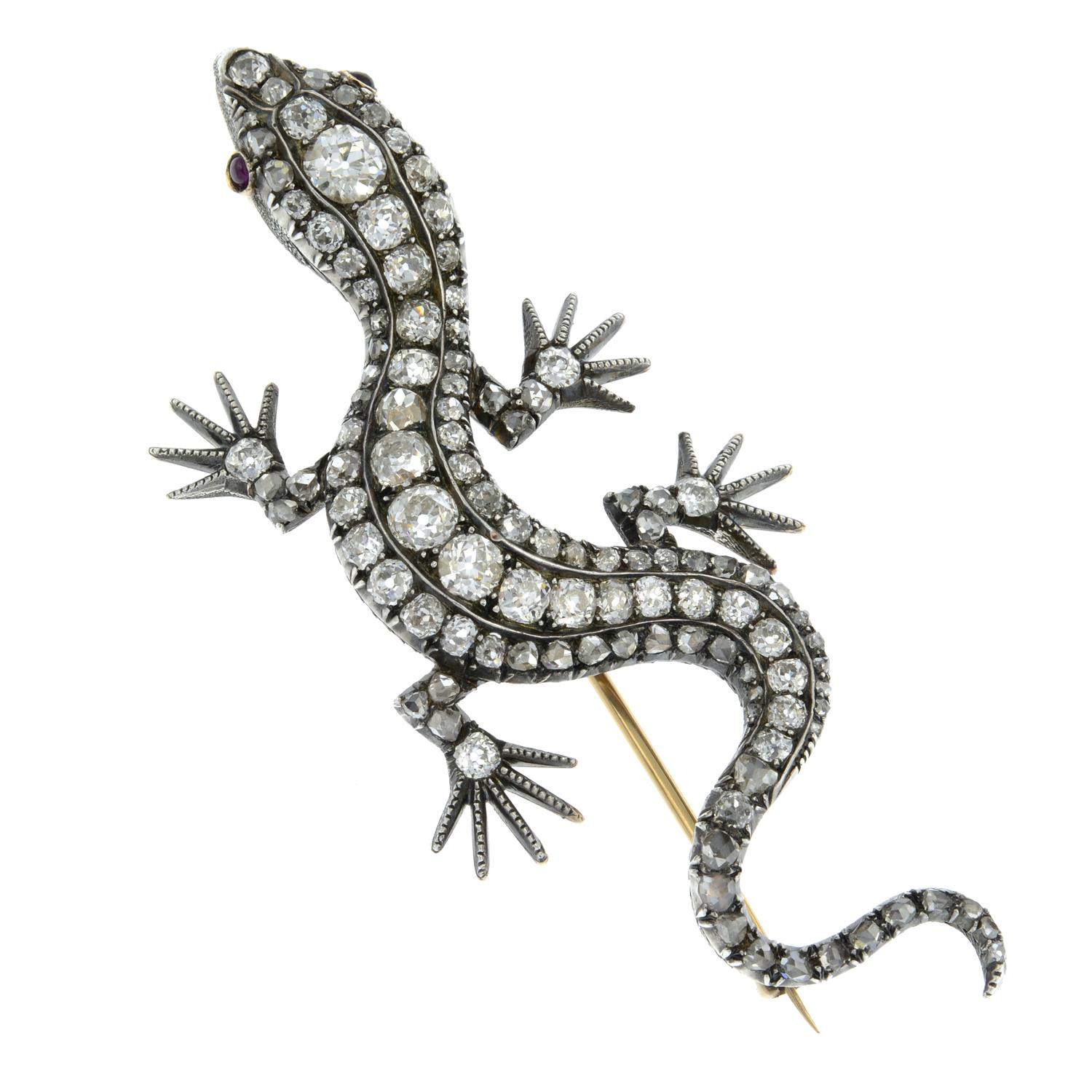 A Victorian silver and gold, old and rose-cut diamond salamander or lizard brooch. - Image 2 of 4