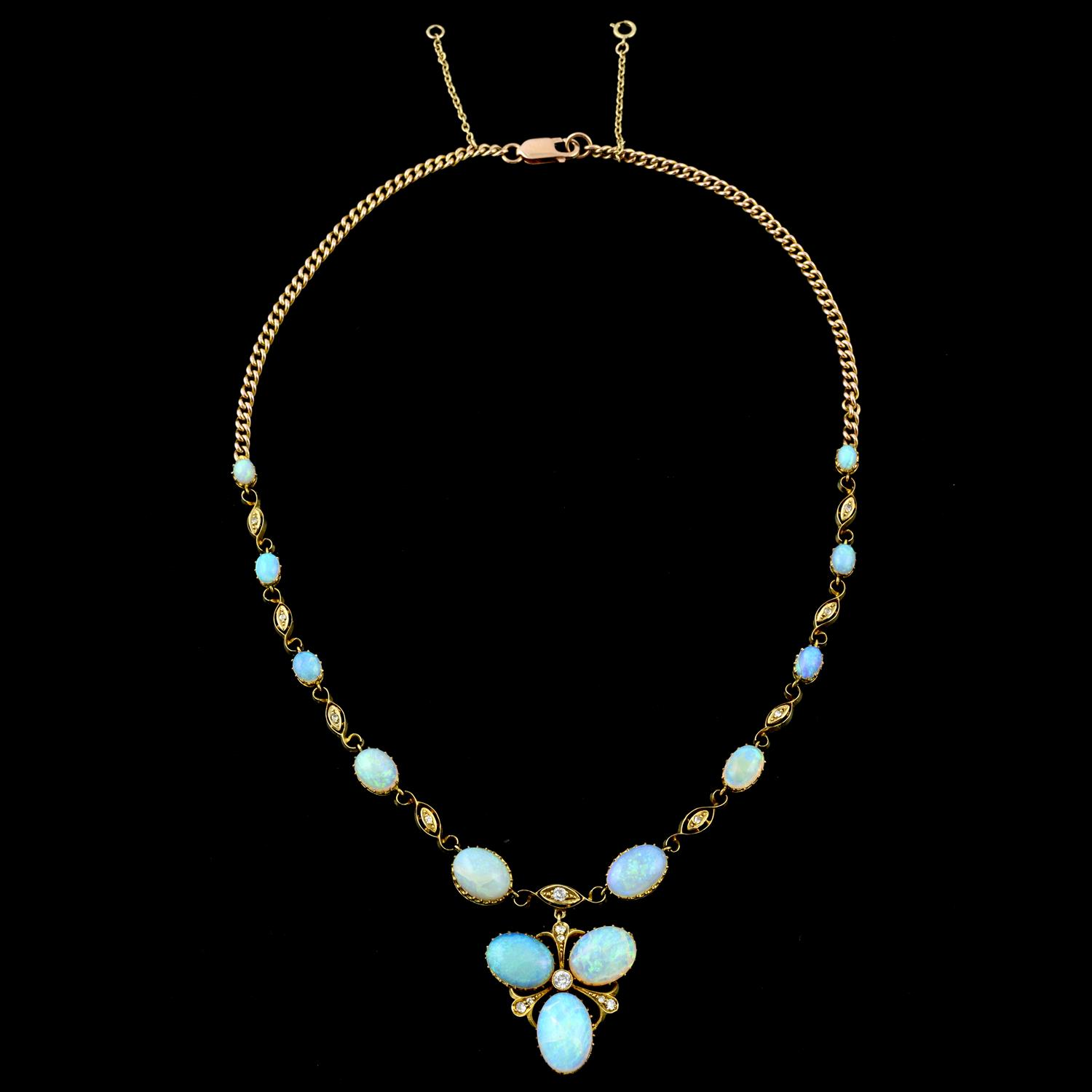An early 20th century gold opal and diamond necklace, with later back chain. - Image 3 of 5