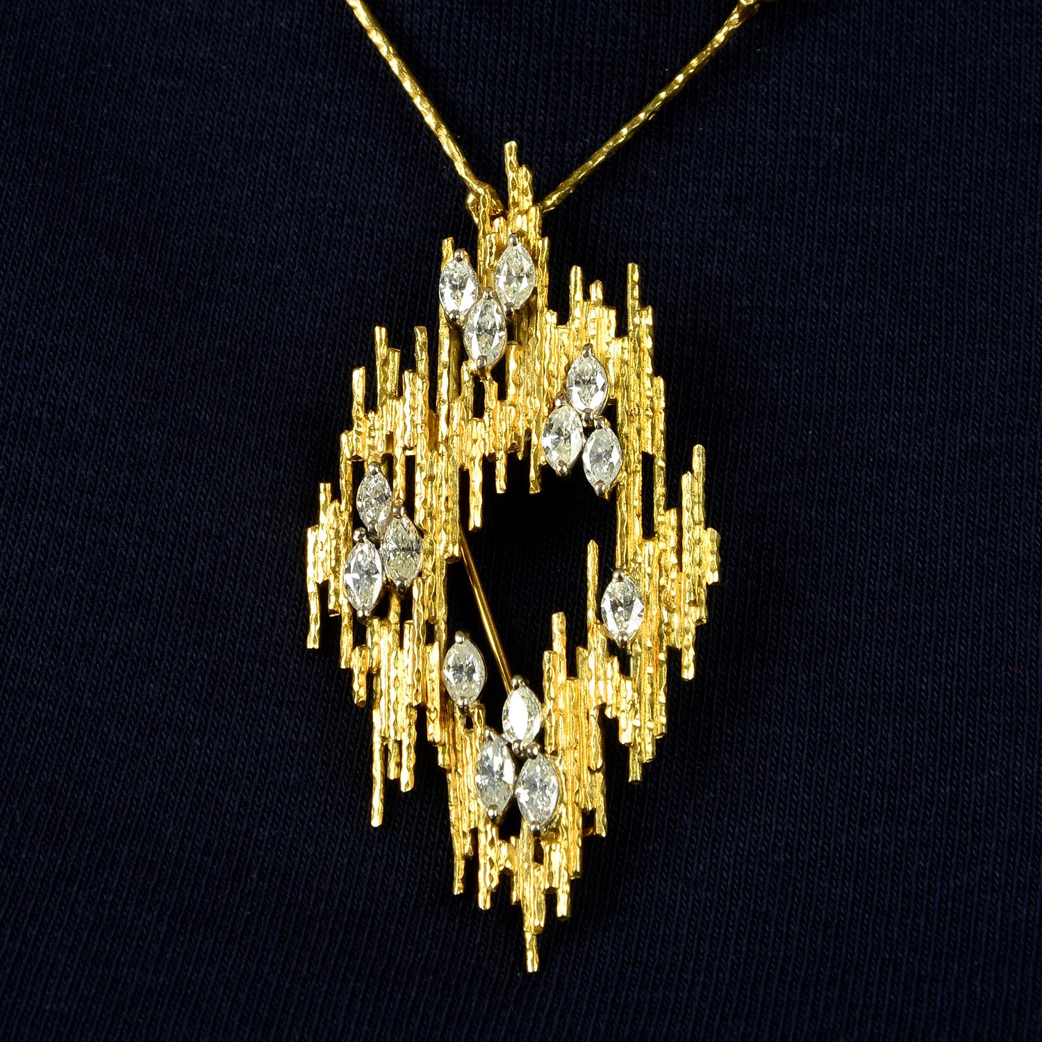 A 1970s 18ct gold marquise-shape diamond textured pendant brooch, with similarly-textured chain.