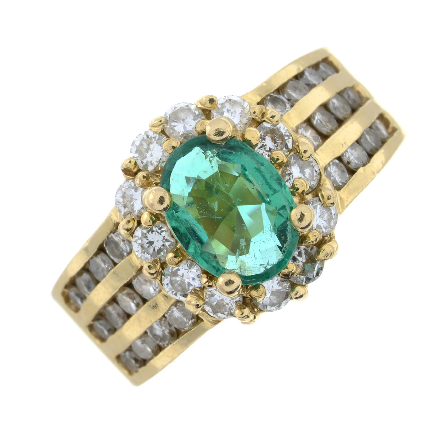 A Zambian emerald and brilliant-cut diamond cluster ring. - Image 2 of 7