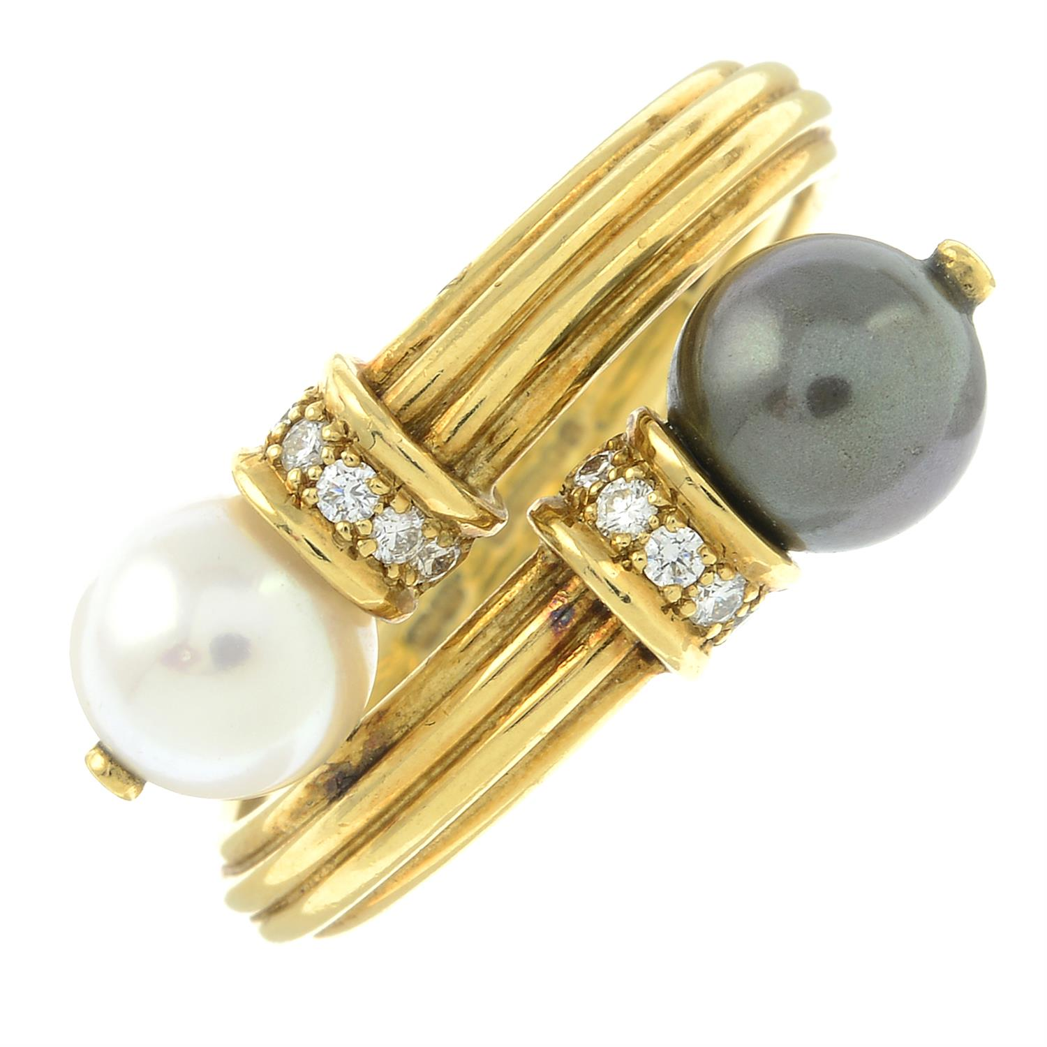 An 18ct gold grooved ring, with vari-hue cultured pearl and brilliant-cut diamond crossover - Image 2 of 5