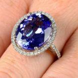 An 18ct gold tanzanite and brilliant-cut diamond ring.