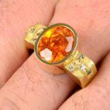 A spessartine garnet and 'brown' diamond ring, by Erwin Springbrunn.
