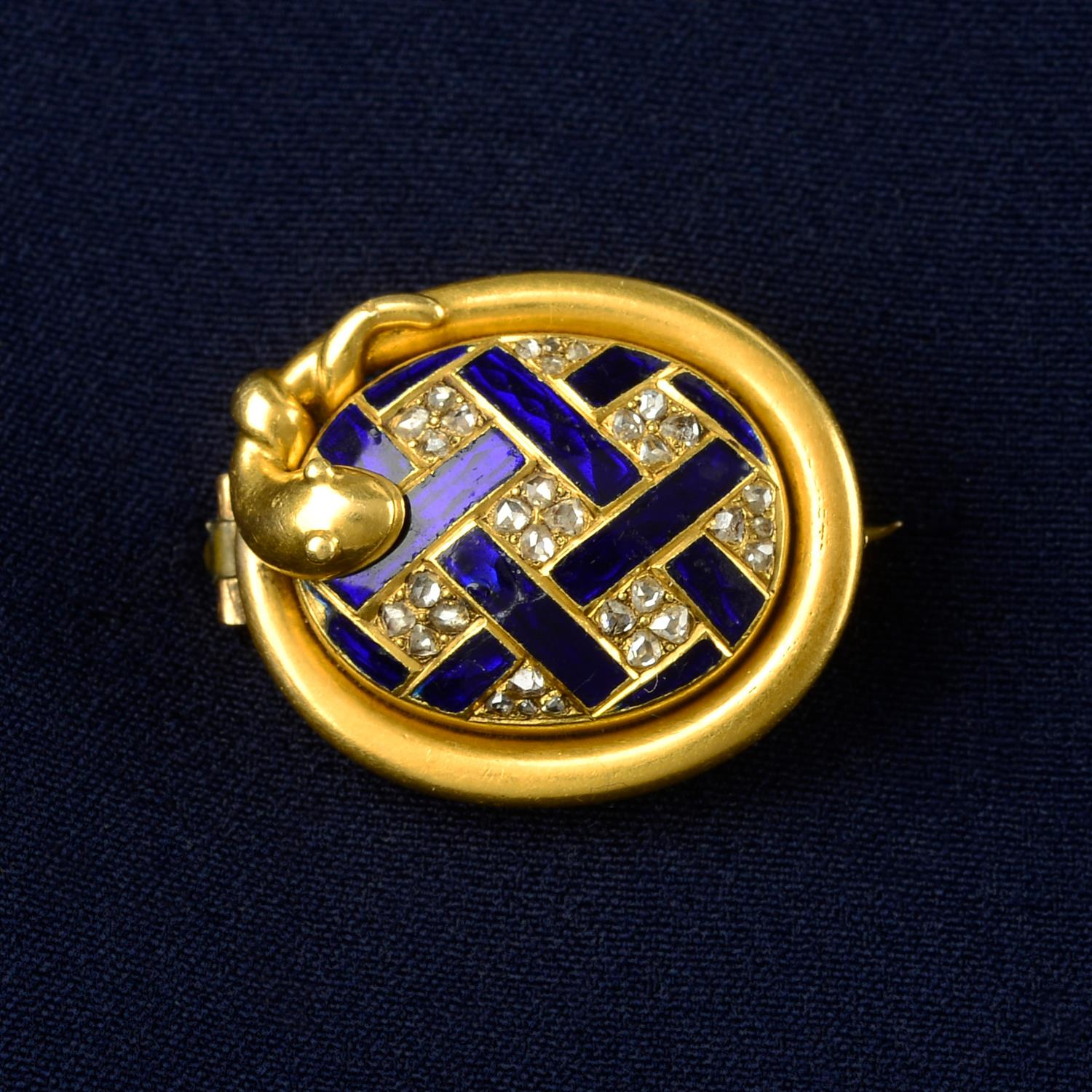 A 19th century gold rose-cut diamond and blue enamel lattice brooch, with snake surround and locket