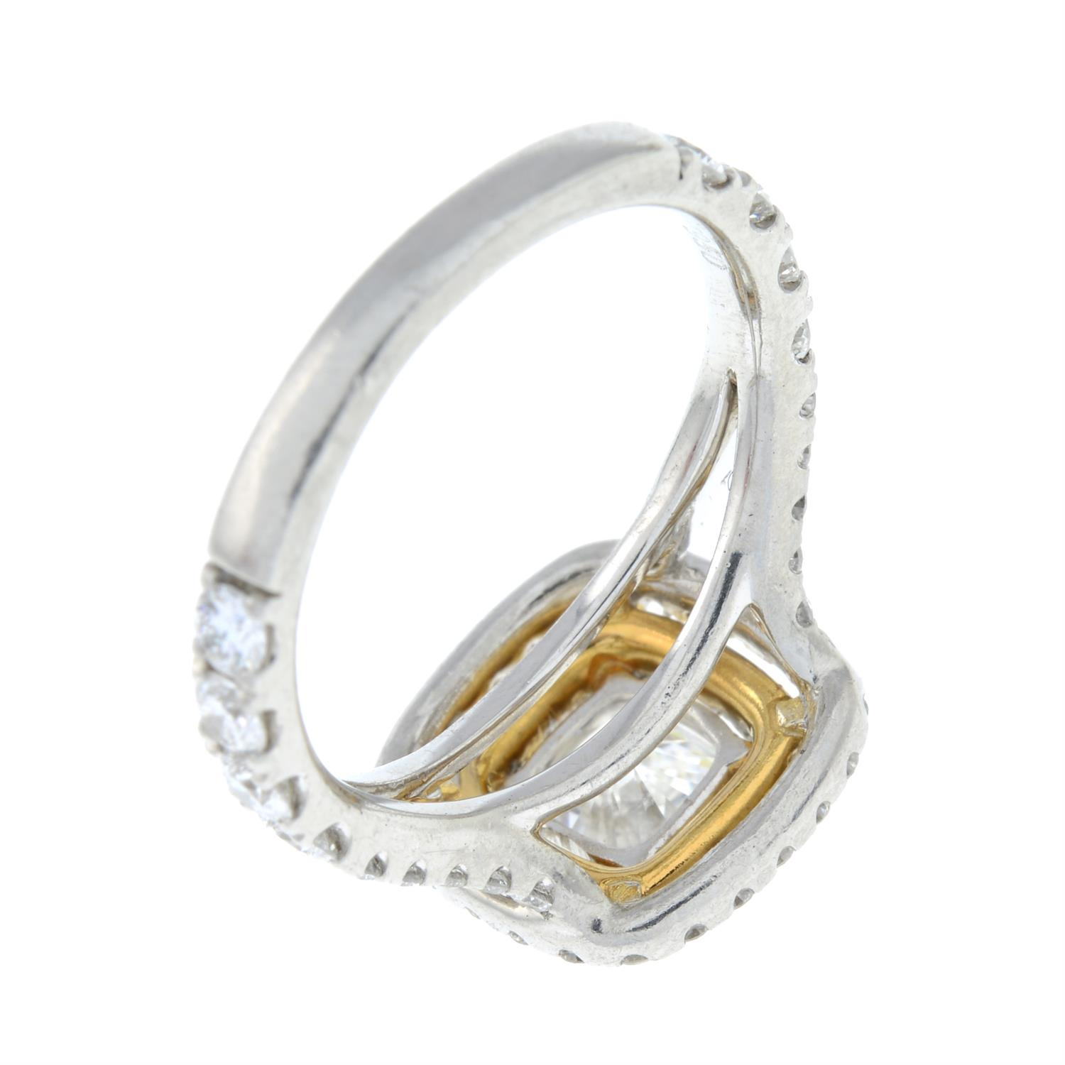 A platinum cushion-shape diamond ring, with brilliant-cut diamond surrounds and shoulders. - Image 5 of 7