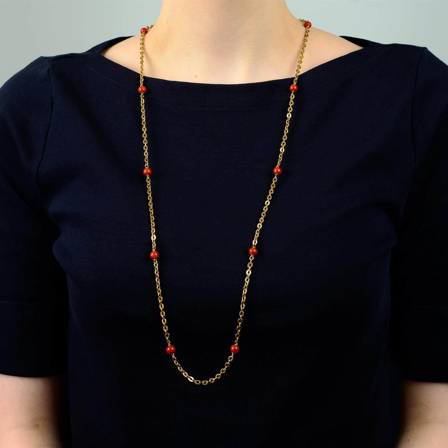A mid 20th century Italian 18ct gold necklace, with coral bead spacers, by Orf. - Image 5 of 5