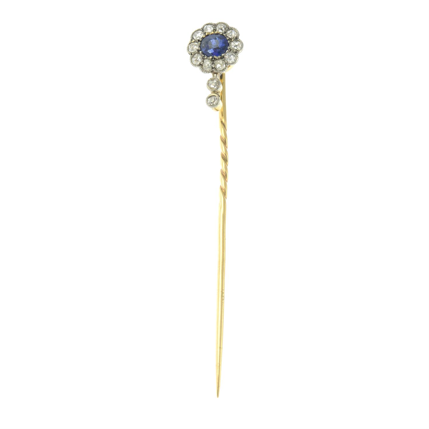 An early 20th century 12ct gold and platinum, sapphire and old-cut diamond cluster stickpin. - Image 3 of 5
