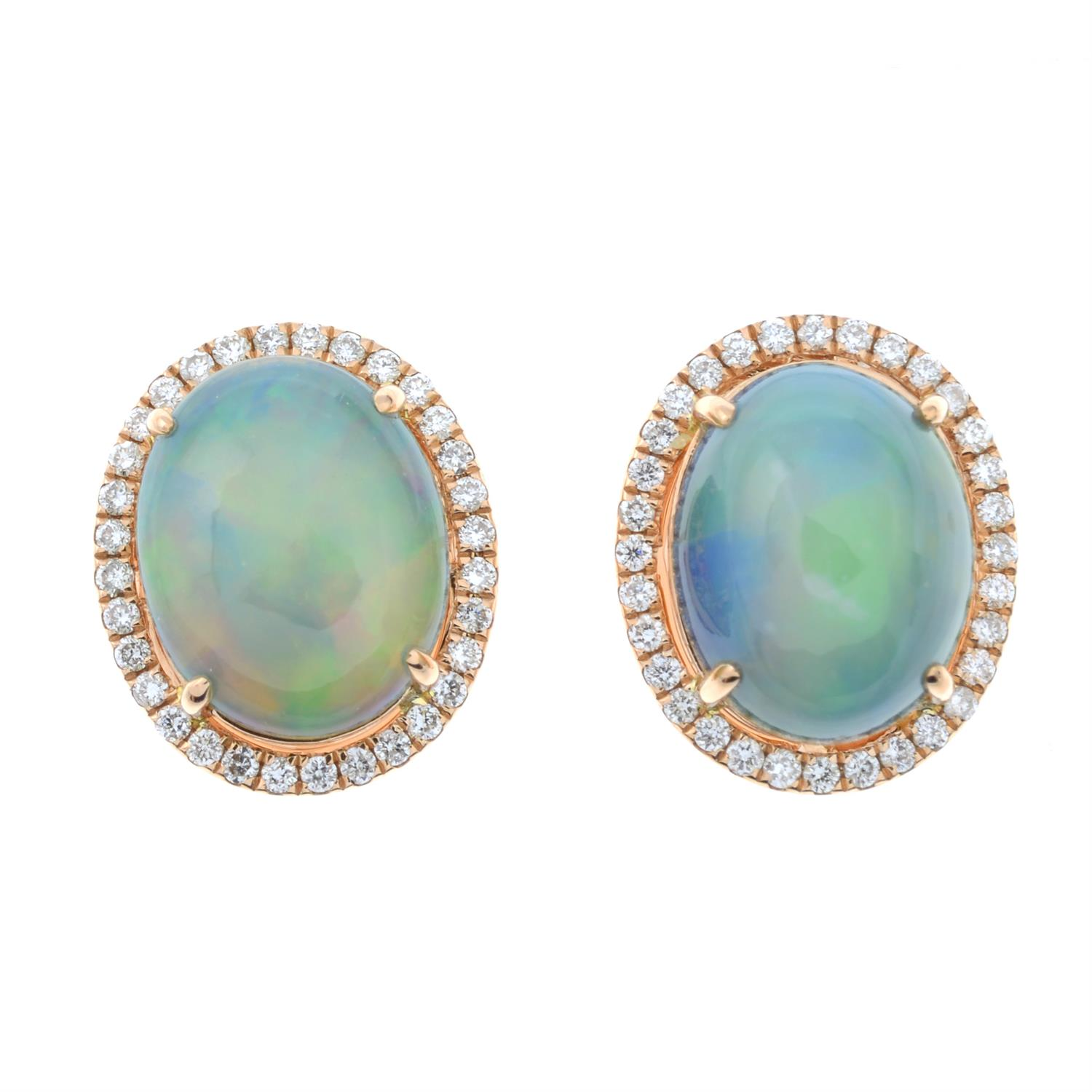 A pair of opal and brilliant-cut diamond cluster stud earrings. - Image 2 of 4