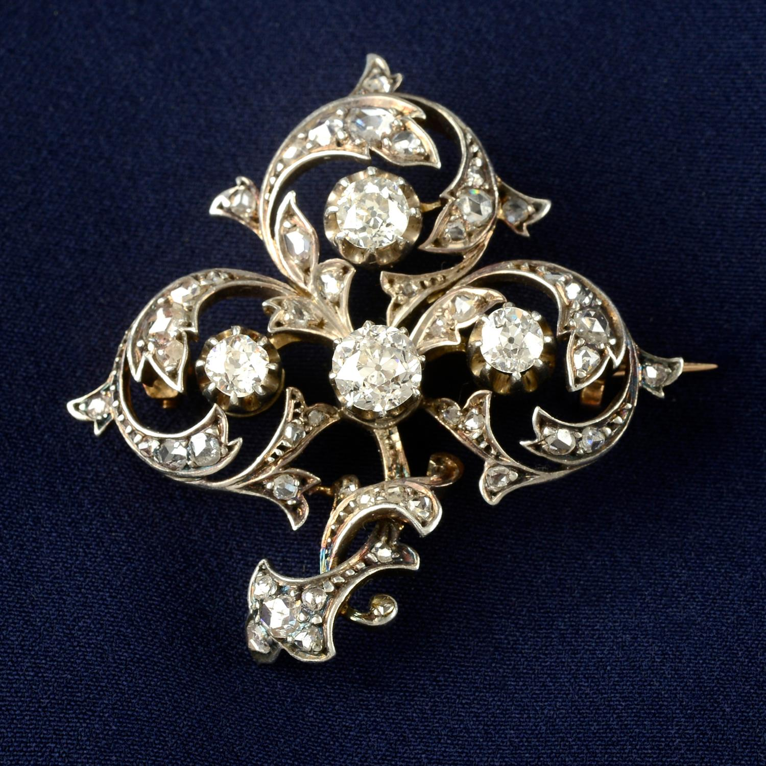 A late 19th century silver and gold, old and rose-cut diamond brooch.