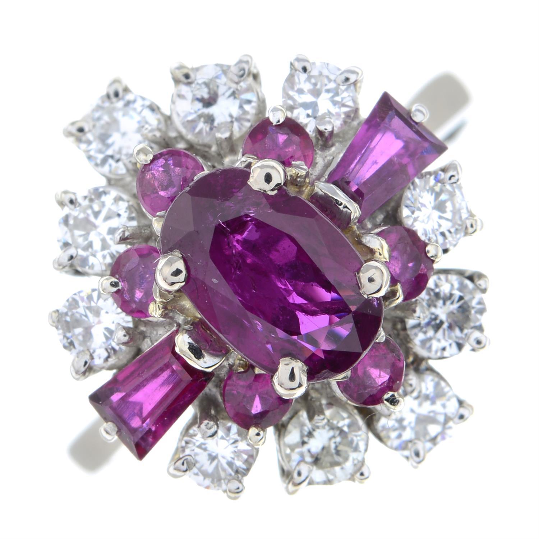A vari-cut ruby and brilliant-cut diamond dress ring. - Image 2 of 6