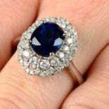 An 18ct gold sapphire and brilliant-cut diamond dress ring.