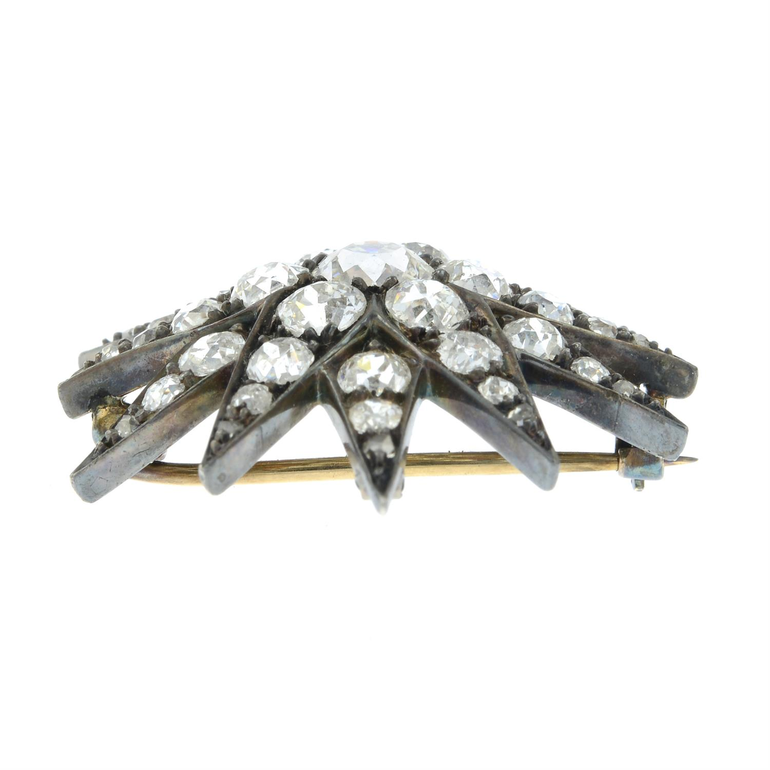 A late Victorian silver and gold, old-cut diamond star brooch. - Image 4 of 5
