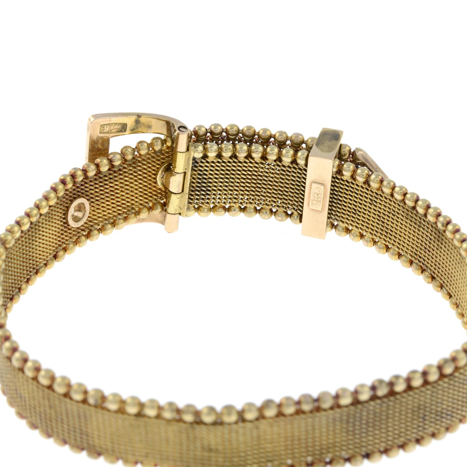 A late Victorian 15ct gold split pearl and turquoise buckle bracelet. - Image 5 of 6