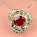 A ruby, brilliant and tapered baguette-cut diamond floral cluster pendant, with chain.
