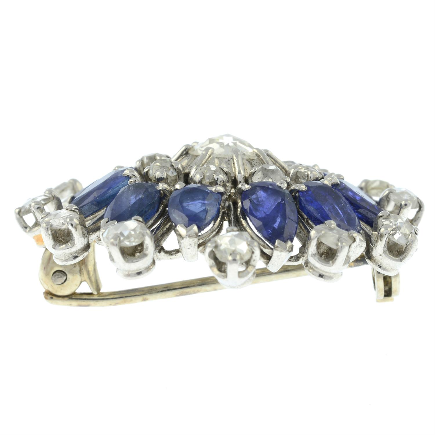 A rose and old-cut diamond and sapphire floral cluster brooch. - Image 4 of 5
