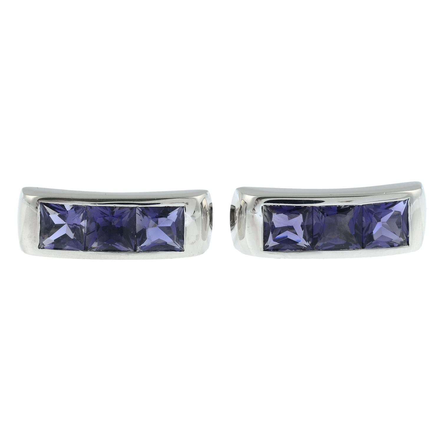 A pair of 18ct gold iolite cufflinks, by Ritz Fine Jewellery. - Image 2 of 4