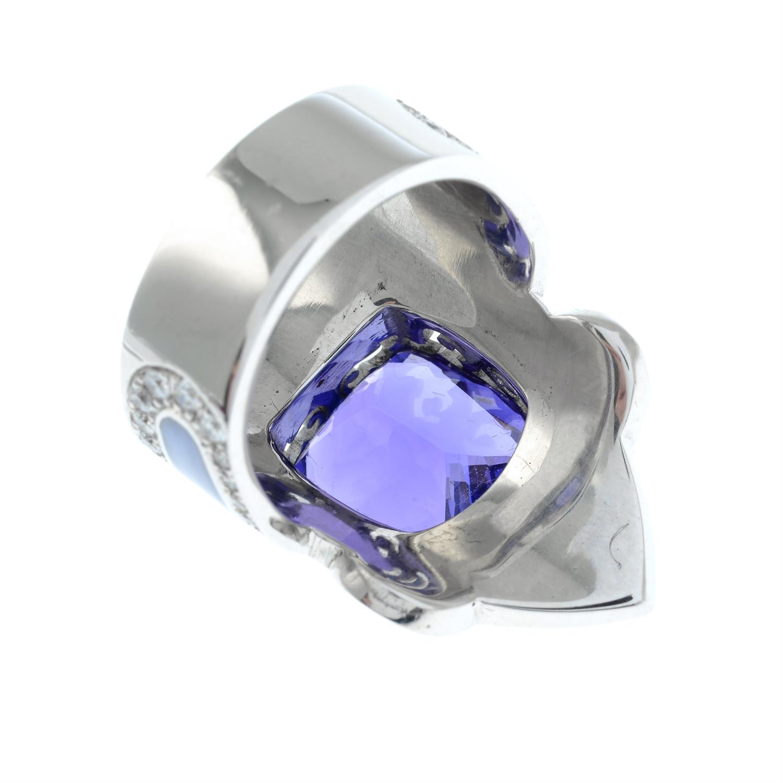 A tanzanite, brilliant-cut diamond and enamel ring. - Image 5 of 6