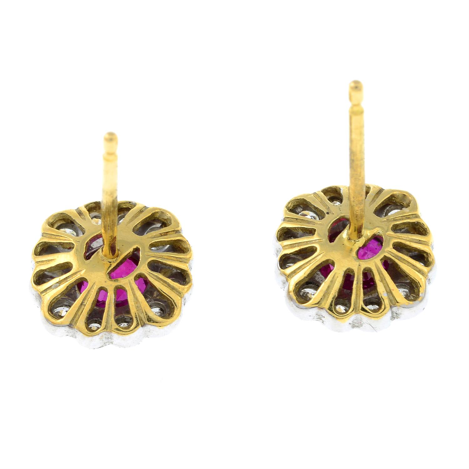 A pair of 18ct gold ruby and diamond floral cluster earrings. - Image 3 of 4
