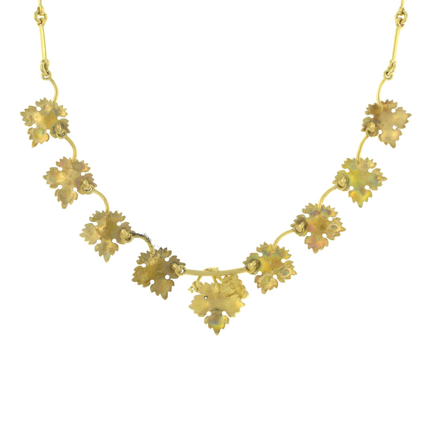 A diamond accent grape and vine leaf necklace, by M. Buccellati. - Image 4 of 6