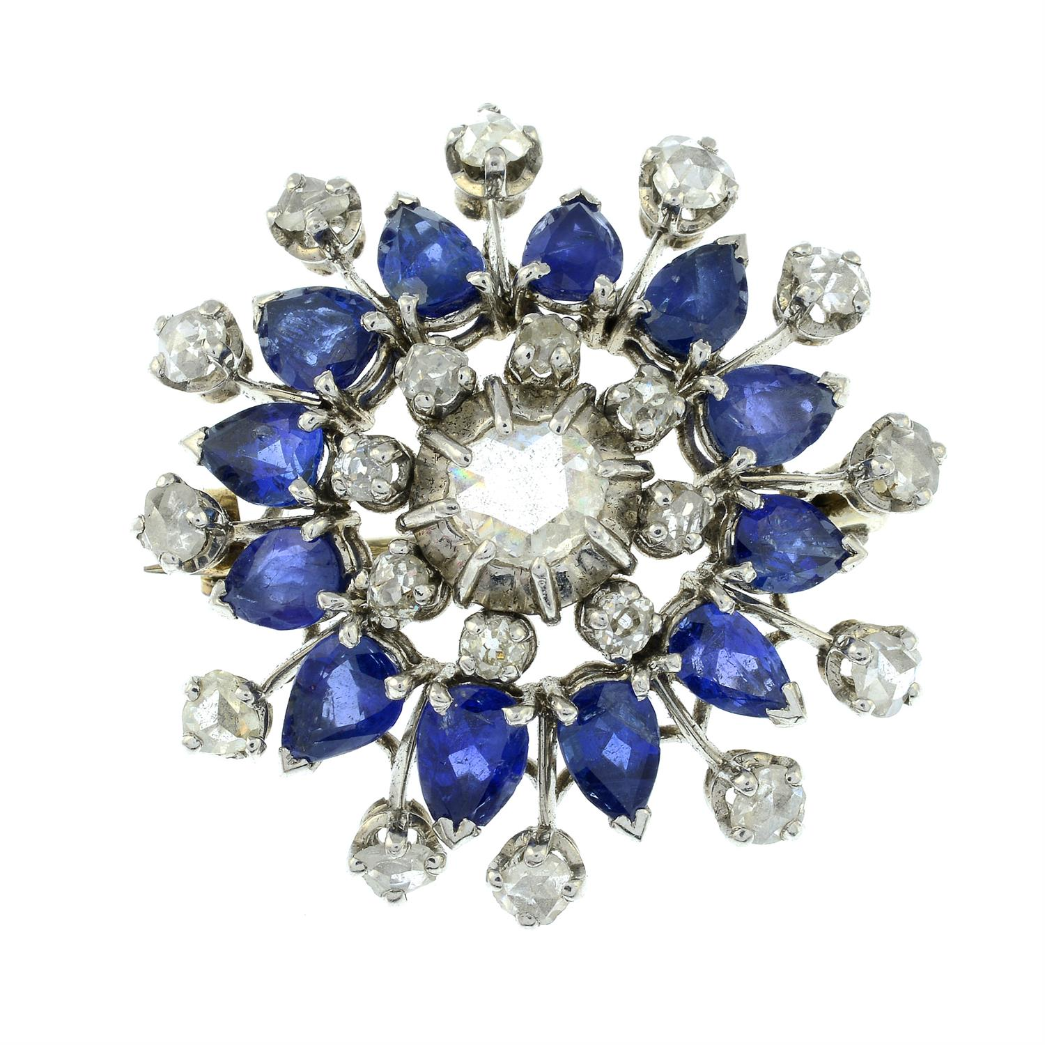 A rose and old-cut diamond and sapphire floral cluster brooch. - Image 2 of 5
